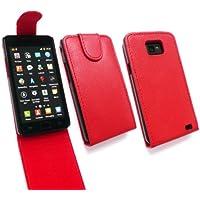 Emartbuy ® Samsung Galaxy S2 Plus I9105 Premium-Pu-Leder Flip Case Textured / Cover / Pouch Dark Rot