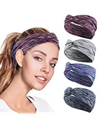 4PCS Women Workout Headband Lightweight Soft Wicking Stretchy Head Wrap Ideal for Sports/Yoga/