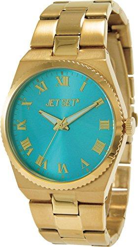 Jet Set–j61108-422–Success–Ladies Watch–Analogue Quartz–Golden Dial–Steel Bracelet Turquoise