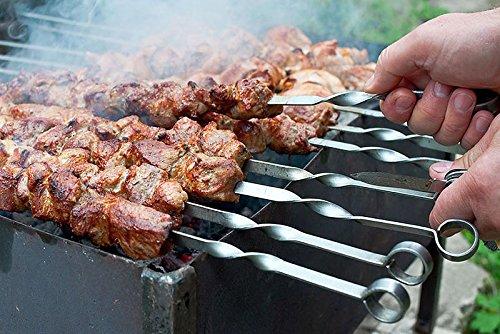 517dpJdTOeL - Grill Spieße Schaschlikschpieße Schampur aus Edelstahl 20 St. 50 cm Grillspieß Fleischspieße Kebab Grillzubehör für Mangal Grillbesteck