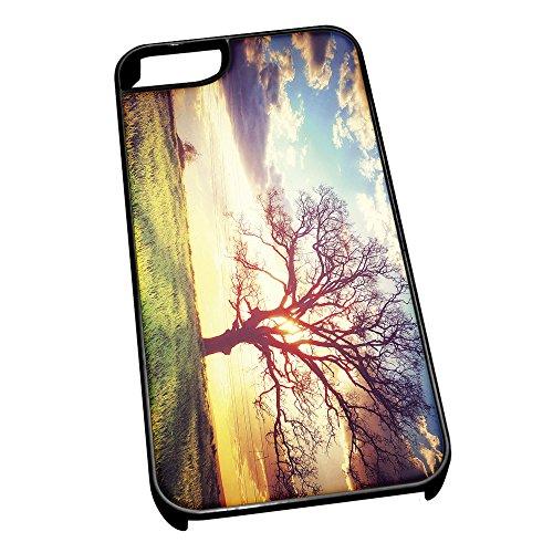 Schwarz Cover für iPhone 5/5S 0287Sunset Scary Baum Field