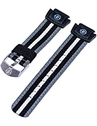 Timex 16mm EXPEDITION Gray, Black, White Striped Nylon Watch Band Fits T49661, T49660, T49659, T49658