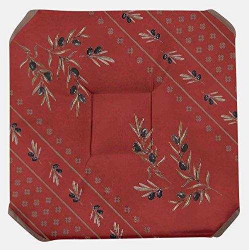Galette de chaise anti-taches à rabat Olivette rouge