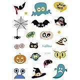 axusndas - Adhesivos de Cara Temporal para Halloween, diseño de Calavera de azúcar, diseño Floral, para Disfraz de araña, Sangre, Cicatrices, murciélagos, 02#