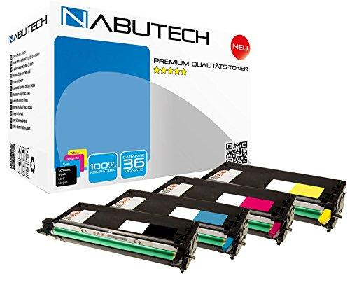 4 ORIGINAL NABUTECH TONER nach (ISO-Norm 19798) für Dell-3110CN Dell-3115CN, 8000 Seiten je Toner bei 5% Deckung, Druckqualität wie beim Original Dell, Set - Dell-3110cn-schwarz-tonerkassette