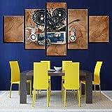 mmwin Toile Décor À La Maison Cadre Mur Art Photos 5 Pièces Peintures Drapeau Américain Salon HD Prints Abstraite Soldats Affiches 9 40x60 40x80 40x100cm