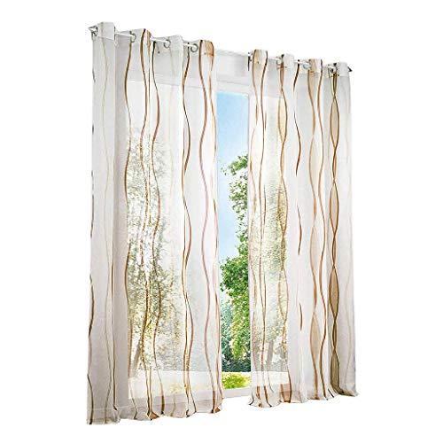 ESLIR Gardinen mit Ösen Vorhänge Gardinenschals Transparent Schlaufenschal Wellen Muster Voile Sand BxH 140x245cm 1 Stück