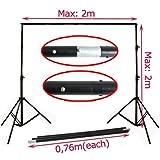 PMS® Hintergrundsystem Fotostudio Foto Zubehör 2 x 2 m Hintergrund inkl. 1,6 x 3 m Hintergrundstoff weiss Screen - 2