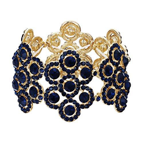 Flyonce Damen Armband Österreich Kristall Hochzeit Braut Blumen Stretch-Armkette Armreif Blau Gold-Ton