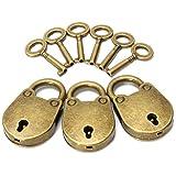 KING DO WAY Lot De 3 Pcs Vintage Petits Cadenas Avec 6 Cles Pour Sac a Main Petit Bagage Bricolage Securite Antique Mini Padlock