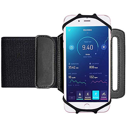 Brazalete para el antebrazo Matone Sports, gira 180°, para entrenamiento, muñequera para atletismo, ciclismo senderismo, con correa ajustable para iPhone 8/7/6S/6Plus, Galaxy S8/S8Plus/S7Edge (negro)