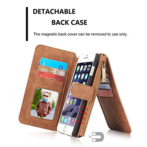 Apple iPhone 7 Hülle - Kuhfell Spaltleder 14 Kartenfächer, Reißverschluss Brieftasche Combo Schutzhülle für Apple iPhone 7 - Braun Braun