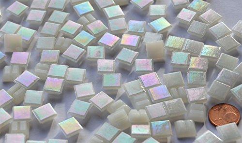 200 St. Glas- Mosaiksteine weiß mit Regenbogenschimmer 1x1cm, ca.136g
