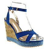 Angkorly - Damen Schuhe Espadrilles Sandalen - Plateauschuhe - Seil - Kork - String Tanga Keilabsatz high Heel 12 cm - Blau 628-111 T 38