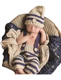 SaiDeng Beanie Bebé Recién Nacido Fotografía Apoya Infantil De Punto De Ganchillo Trajes Rayadas Como La Imagen