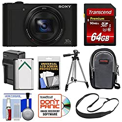 Sony Cyber-Shot DSC-WX500 Wi-Fi Digital Camera (Black) with 64GB Card + Battery & Charger + Case + Strap + Tripod + Kit