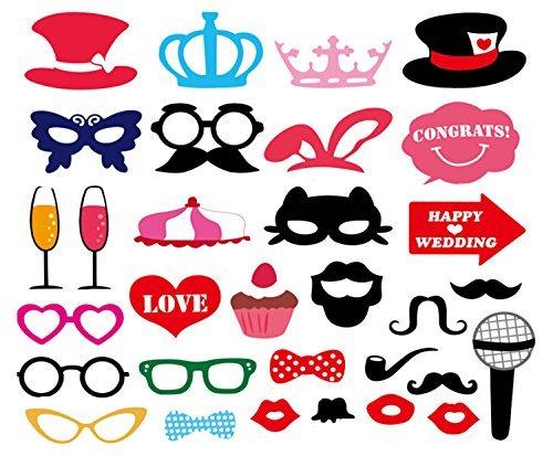 Schnurrbart Krone Hut Brille Requisiten Fotokabine Party Spaß Hochzeit-Geburtstag Partei Feier (Prom-dekoration-kits)