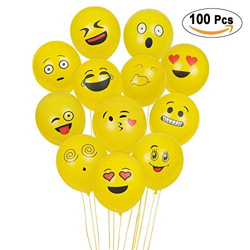(SKYIOL Emoji Balloons, 100Pcs Latex Ballons, Smiley Gesicht Ballons für Kinder Geburtstagsfeier Supplies Bevorzugungen, Neuheit Hochzeit Veranstaltungen Dekoration Zubehör, gelb (Emoji Luftballons))