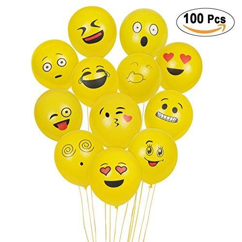 emoji luftballon SKYIOL Emoji Balloons, 100Pcs Latex Ballons, Smiley Gesicht Ballons für Kinder Geburtstagsfeier Supplies Bevorzugungen, Neuheit Hochzeit Veranstaltungen Dekoration Zubehör, gelb (Emoji Luftballons)