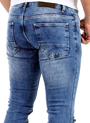 Reslad Herren-Jeans Skinny Slim Fit Jogg-Jeans Jeans-hose viele Modelle & Farben 523 Blau