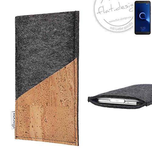 flat.design Handy Hülle Evora für Alcatel 1C Single SIM handgefertigte Handytasche Kork Filz Tasche Case fair dunkelgrau