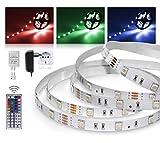 LED Streifen 5m RGB Set mit Steckernetzteil und Infrarot-Fernbedienung (RGB LED Strip 5 Meter - bunt,mehrfarbig,Weiß-Modus,Farbwechsel - 30LED/m, IP20, 12V SELV, 36W-Netzteil, IR Controller und Fernbedienung mit 44 Tasten) - ideal als Ambiente-Beleuchtung, Wohnzimmer-Beleuchtung, Schlafzimmer-Beleuchtung, Kinderzimmer-Beleuchtung, langlebig, günstig und energieeffizient