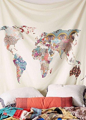 Arfbear Weltkarte Tapisserie, wandbehänge gelb lila aquarell natur große tischdecken wand für schlafzimmer Wohnkultur 59x59 inches