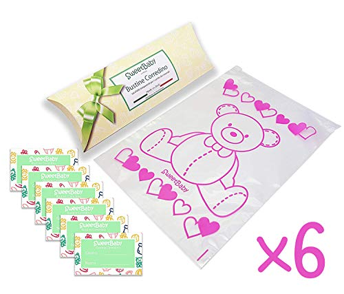 Sweetbaby 6 bustine per il corredino del neonato - sacchetti, buste ospedale 6pz trasparenti chiusura con cursore ermetico, per nascita, portacorredino, idea regalo (rosa)