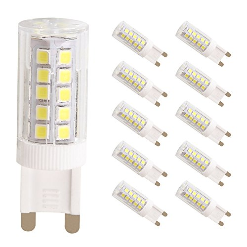 Light Energy Saving Lamp (WULUN 5W G9 LED Bulbs,50W Halogen G9 Light Bulbs Replacement, 44SMD 2835 LED Energy Saving Bulbs, 6000K Super Bright Cool White LED Lamps, AC 220-240V, 360°Beam Angle, Non-Dimmable, 500Lm, CRI>80, LED Light Bulb, 10-Pack [Energy Class A++])