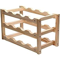 Stapelbar Holz Weinregal 12Flaschen Halter