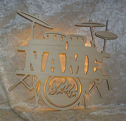 """Schlummerlicht24 Nachtlicht """"Schlagzeug"""" mit Name nach Wunsch, ideales Geschenk für Musik-Fans, als Deko-Lampe zum Zimmer verschönern, handgemacht"""