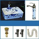 Lavabo del baño Azul Blanco Lavabo Lavabo Cerámica Arte chino Antiguo Diseño redondo 5 un juego