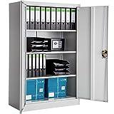 TecTake Armario archivador de Oficina metálico con 2 Puertas bloqueable e estantes - Varias tamaños - (140x90x40 cm   no. 402482)