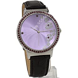 10FW498K Violet Dial Black Band Women 100% Tested 3ATM Velet Crystal Fashion Watch