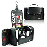 Lavievert Toiletry Bag / Makeup Organizer / Cosmetic Bag / Portable Travel Kit Organizer / Household Storage Pack / Bathroom Storage with Hanging for Business, Vacation, Household -Black