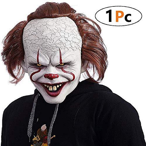 Whale city Pennywise Deluxe Edition Maske - Halloween Es Scary Killer Mask Gruselige Halloween Kostüm Requisiten Gesichtsmaske für Erwachsene (Halloween City Kostüm Für Erwachsene)