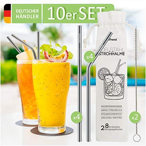 int!rend Premium Edelstahl Strohhalme 10er Set - plastikfrei - umweltfreundliche, nachhaltige hochwertige Metall Trinkhalme, wiederverwendbar - Cocktail, Smoothie, Saft, Milchshake