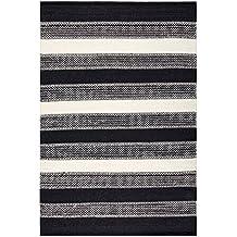 Creative carpets Alfombra Líneas, Lana, Negro y Blanco, 120 x 180 cm