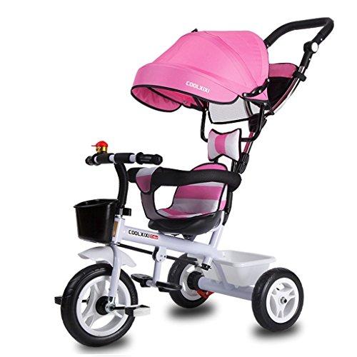Preisvergleich Produktbild Luxus 4-in-1 Kind Dreirad Fahrrad Boy's Bike Mädchen Fahrrad für 6 Monate-6 Jahre alt Baby drei Räder Trolley mit Markise und Eltern Griff / Dämpfung / Gummirad / Vollkunststoff-Rad ( Farbe : Pink ,  größe : B-Stil )