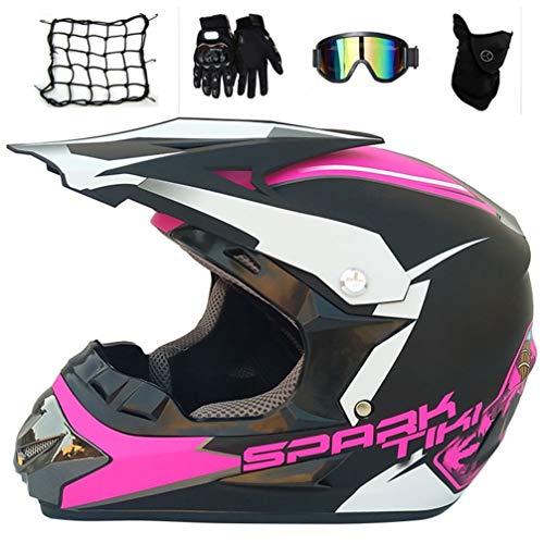 Motocross Helm Damen mit Motorrad Netz Handschuhe Brille Maske, Adult Crosshelm Enduro MTB Helm Fullface Offroad Motorradhelm für Sport Sicherheit Schutz Kit, Schwarz und Pink,L