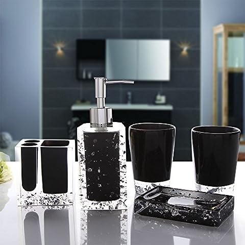 Set da bagno 5 pezzo di resina set di cortesia in movimento con una stanza da bagno in stile Europeo di Bluetooth