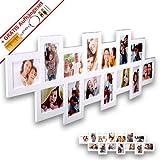 WopArt XL Bilderrahmen Collage für 14 Bilder im Format 10x15 in weiß inkl. unserem beliebten Aufhängeset