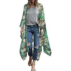 Festnight Cardigan Kimono De Gasa para Mujer Estampado Floral Boho asimétrico Blusa Larga Suelta Prendas de Abrigo Ropa de Playa Bikini Cubrir