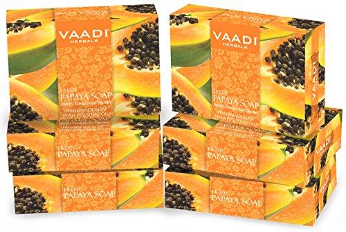 Vaadi Herbal Bio-Seife Bar Frische Papaya seife Natürliche Seife Für Alle Hauttypen Sulfatfrei 6 X 75 G - Papaya Seife Bars