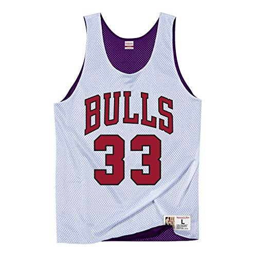 Baumwolle Reversible Tank-top (Mitchell & Ness NBA Tank Top Chicago Bulls Scottie Pippen 1995 All Star #33 White L)