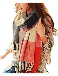 e8b558270e3e heekpek Châle Crochet Femmes Hiver Châle Femme Hiver Grande Écharpe Gland à  Carreaux Pour Femmes Châle
