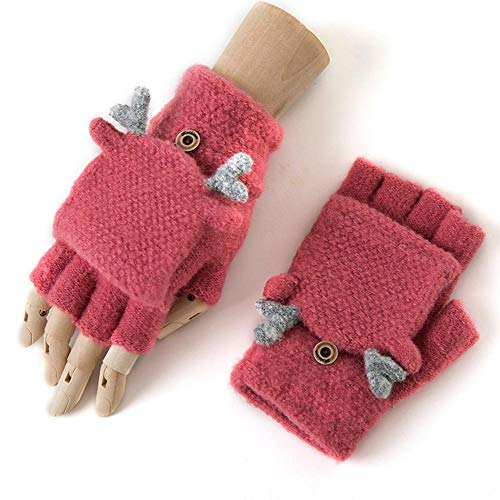 Kaxima Handschuh Winter Warmer Handschuh Klappe Womens Stricken halbe Finger Weihnachten Hirsch Handschuhe