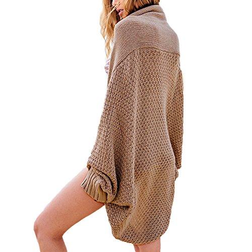 Desshok Femme Tricotage Pull-over Oversized Manches Longues Bonnetterie Cardigan Casual Gilet Coat Veste Outwear Matière:Tricot,Laine
