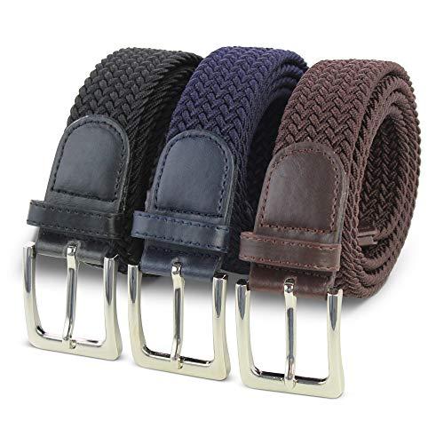 Komfortabel Elastische Geflochtener Stretch Gürtel - Stretchbelt - Stoffgürtel - Flecht mit pu Leder für Damen und Herren