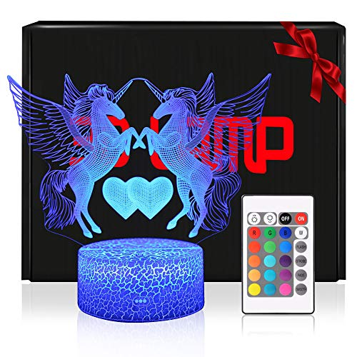 3D Einhörner Lampe LED Nachtlicht mit Fernbedienung, QiLiTd 7 Farben Wählbar Dimmbare Touch...